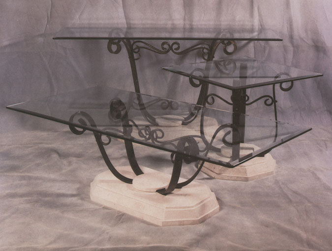 Lamp Table WI Stone Inlay/Iron,,  WITH GLASS