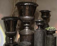 Medium Traditional Urn, Hand Carved Black Stone