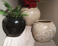 Large Pacific Planter, 100% NATURAL Carved Black Stone, Smooth