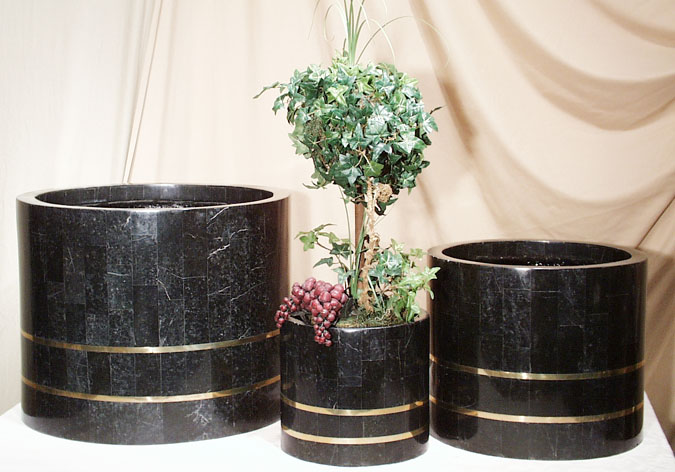 Large Round Black Stone Smooth Planter with Brass