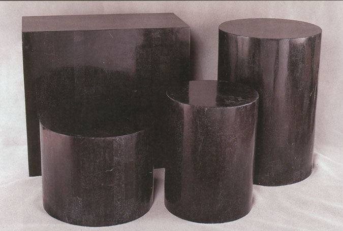 Round Side Table Base, Black Stone Smooth