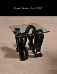 Ribbon Square Side Table, Black Stone with Glass Top (Glass Size: 28x28)