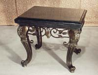 Majestic Lamp Table (w/Iron Leaf Design), 100% NATURAL Inlaid Black Stone