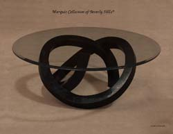 Wild Ride Cocktail Table Base, Black Stone with Glass Top