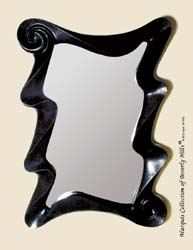 Wave Mirror Frame, Black Stone