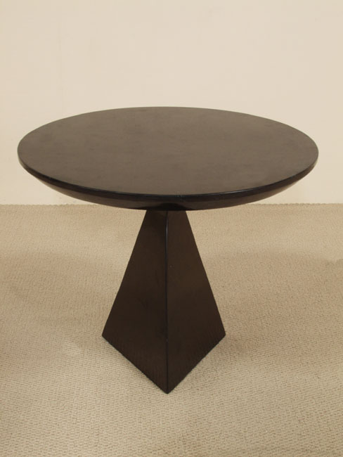 Geo Side Table, Black Stone (with a 3-Sided Base)