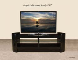 ''Metro'' TV Stand with Glass Shelves, Black Stone