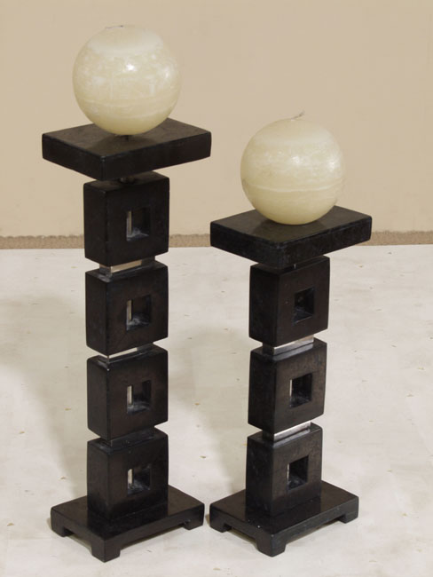 Squares Candleholder, Short, Black Stone with Stainless