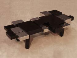 Blocks Cocktail Table, Black Stone with Stainless Finish
