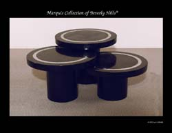 Mushroom Tables, Round, Black Stone with Stainless Steel (Sold in Set of 3)