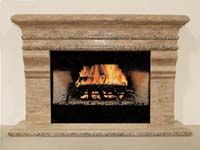 Chateau Fireplace Surround - Mantel & Hearth, Woodstone with Snakeskin Stone