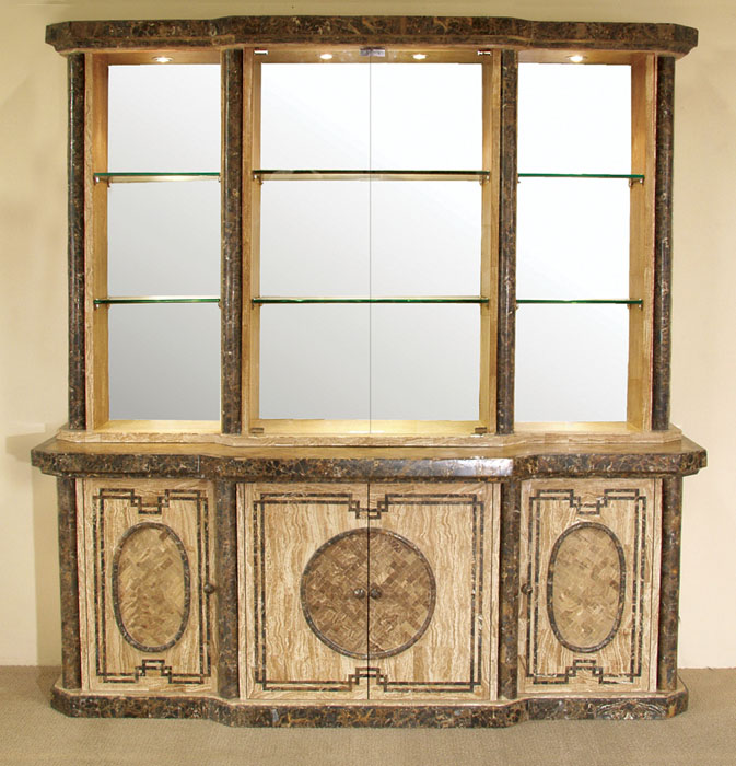 Imperial China Hutch, Woodstone with Snakeskin Stone - 2 of 2 (Set of 2) See price of item #581-2800-CH