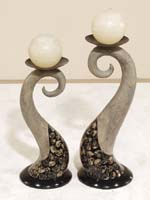 Wave Candleholder, Short, Fern Tassel with Dark Aged Stone Finish