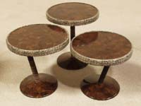 Rings Mushroom Tables, Flat Coco Shell/Wild Pearl Vine/Rope Finish (Sold in Set of 3)