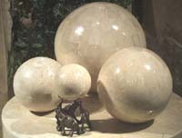 7.5 Inch.  Sphere Beige Fossil Stone