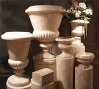 Large Traditional Urn, Hand Carved Beige Fossil Stone