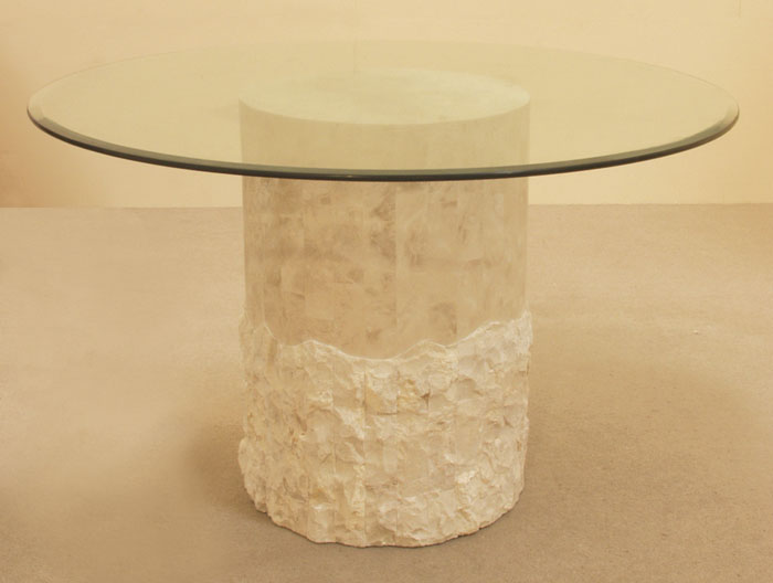 Round Dining Table Base Beige Fossil Stone Rough Smooth
