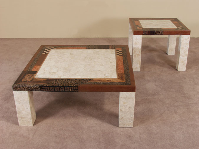 Collage Side Table, Beige Fossil Stone with Natural Materials Finish