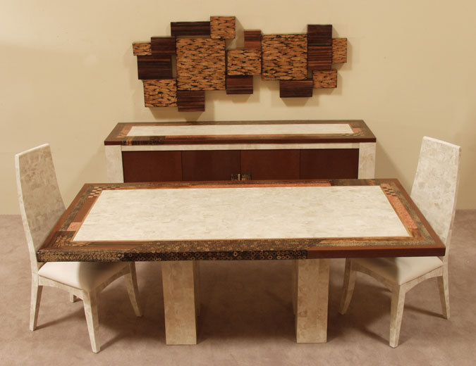 Collage Buffet, Beige Fossil Stone with Natural Materials Finish
