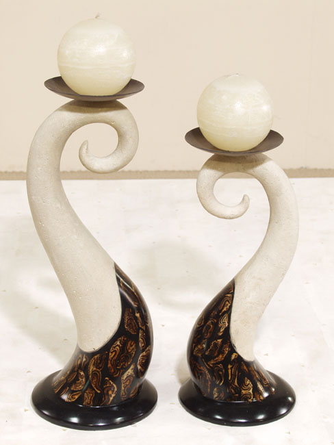 Wave Candleholder, Tall, Brown Malachite with White Aged Stone Finish