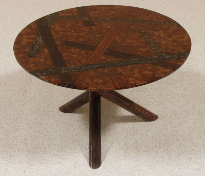 Urban Round Dining Table, Cracked Brown Coco/Barley Vine/Mahogany Husk Finish