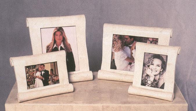 8x10 Scroll Frame Horizontal White Ivory Stone