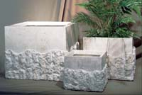 Large Square Rough and Smooth Planter White Ivory Stone