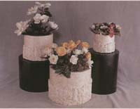 Medium Round Rough and Smooth Planter White Ivory Stone