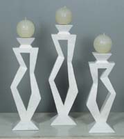 Pose Candleholder, Medium, White Ivory Stone