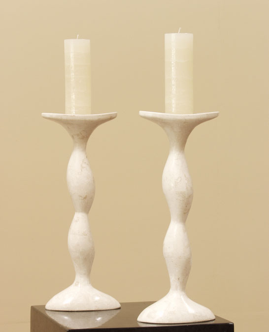 Sway Candleholder, White Ivory Stone (Set of 2)
