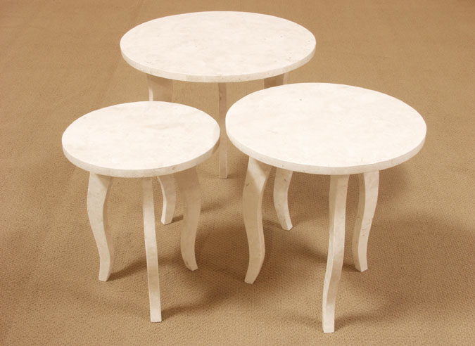 Diore Nesting Table, Small, White Ivory Stone