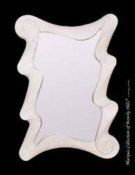 Wave Mirror Frame, White Ivory Stone