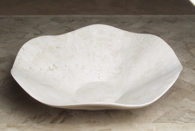 Wavy Bowl, Small, 100% Natural Inlaid White Ivory Stone