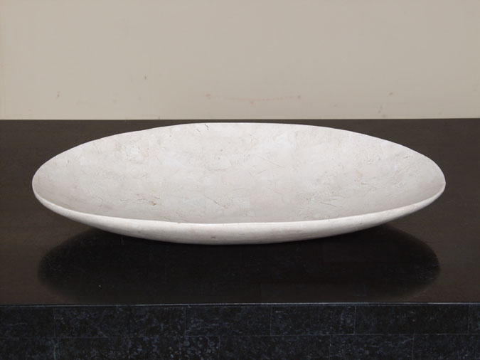 Oval Shaped Bowl, Large, White Ivory Stone