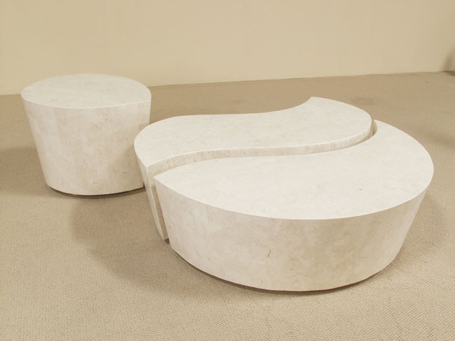 Hampton Side Table, White Ivory  Stone