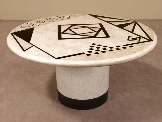 Contemporary Round Dining Table, White Ivory Stone/Black Stone/Beige Fossil Stone