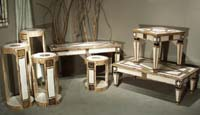 Princeton Rect. Coffee Table, White Ivory and Wood Stone and Snakeskin with Blk Stone