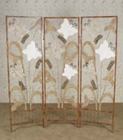 3-Panel Butterfly Screen, Cantor Stone/White Ivory Stone/Woodstone/Snakeskin Stone with Iron