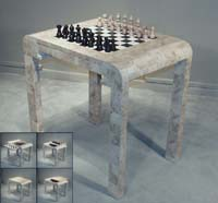 3-In-1 Rectangular Game Table, Cantor Stone with White Ivory Stone and Black Stone Trim. Game pieces are sold separately.