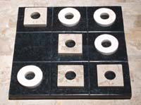 Tic Tac Toe Board Game, Black Stone Board with White Ivory Stone and Cantor Stone Pieces