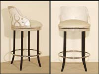 Under the Sea Barstool, Large, Inlaid White Ivory Stone with Black Stone & Cantor Stone Inlay