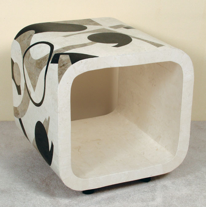 Et cetera Side Table, Rounded Edge, Cantor Stone with Black Stone and White Ivory Stone