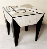 Et cetera Square Side Table with Drawers, Cantor Stone with Black Stone and White Ivory Stone