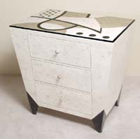Et cetera Chest with 3-Drawers, Straight Edge, Cantor Stone with Black Stone and White Ivory Stone
