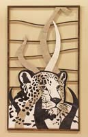Leopard Wall Art, White Agate Stone/Black Stone/Cantor Stone/White Ivory Stone