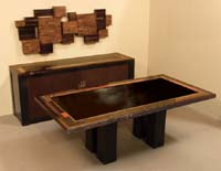 Collage Buffet, Natural Finishes with Black Stone