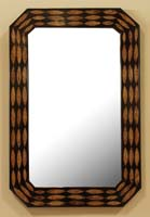 Hazelton Mirror Frame, 100% NATURAL Inlaid Cotton Husk w/Black Gloss Finish