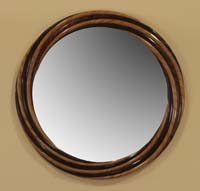Eternity Mirror Frame, Dark Banana Bark with Honeycomb Cane Leaf Finish