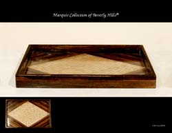 Fusion Rectangular Serving Tray, Dark Banana Bark with Pea-in-the-Pod Inlay