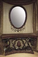 Trumpet Vine Oval Mirror Frame, Solid Coco Shell-mirror included
